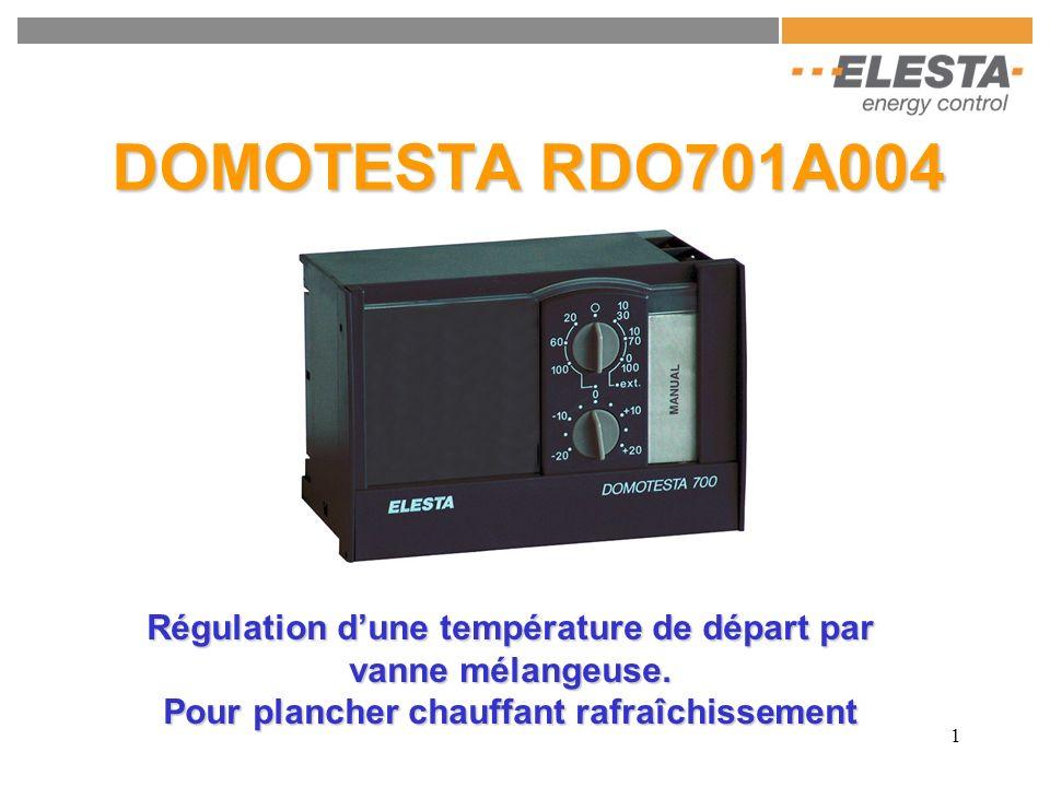 DOMOTESTA RDO701A004 Régulation d'une température de départ par vanne mélangeuse.