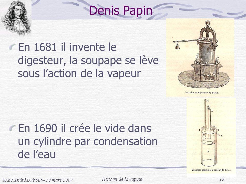 Denis Papin En 1681 il invente le digesteur, la soupape se lève sous l'action de la vapeur.