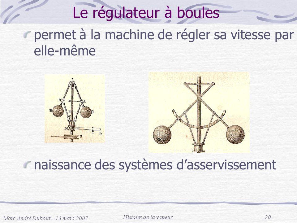 Le régulateur à boules permet à la machine de régler sa vitesse par elle-même. naissance des systèmes d'asservissement.