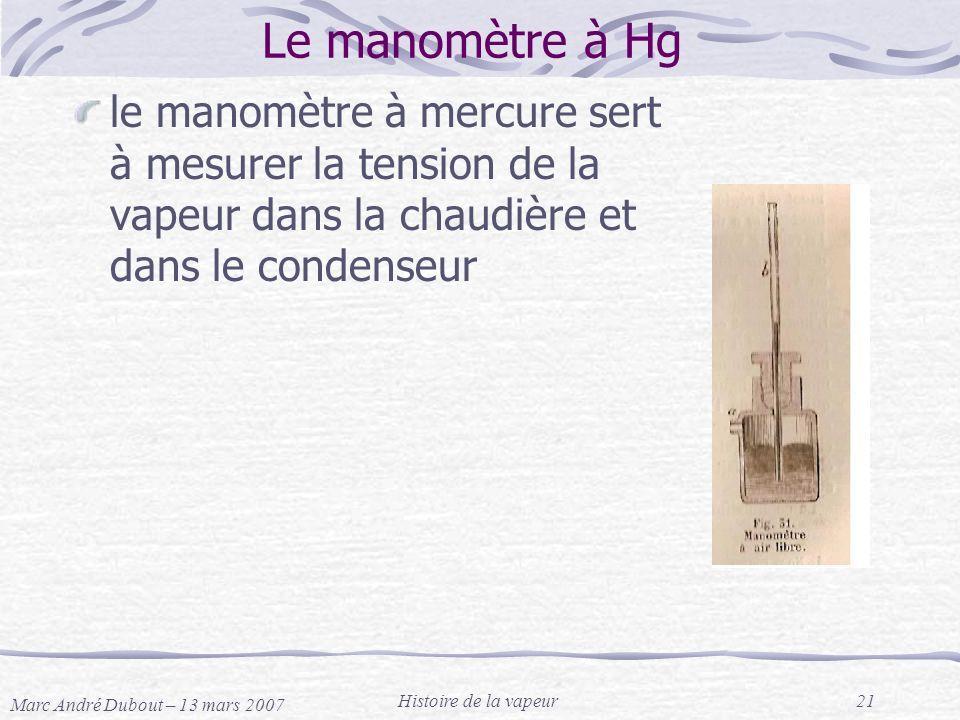 Le manomètre à Hg le manomètre à mercure sert à mesurer la tension de la vapeur dans la chaudière et dans le condenseur.