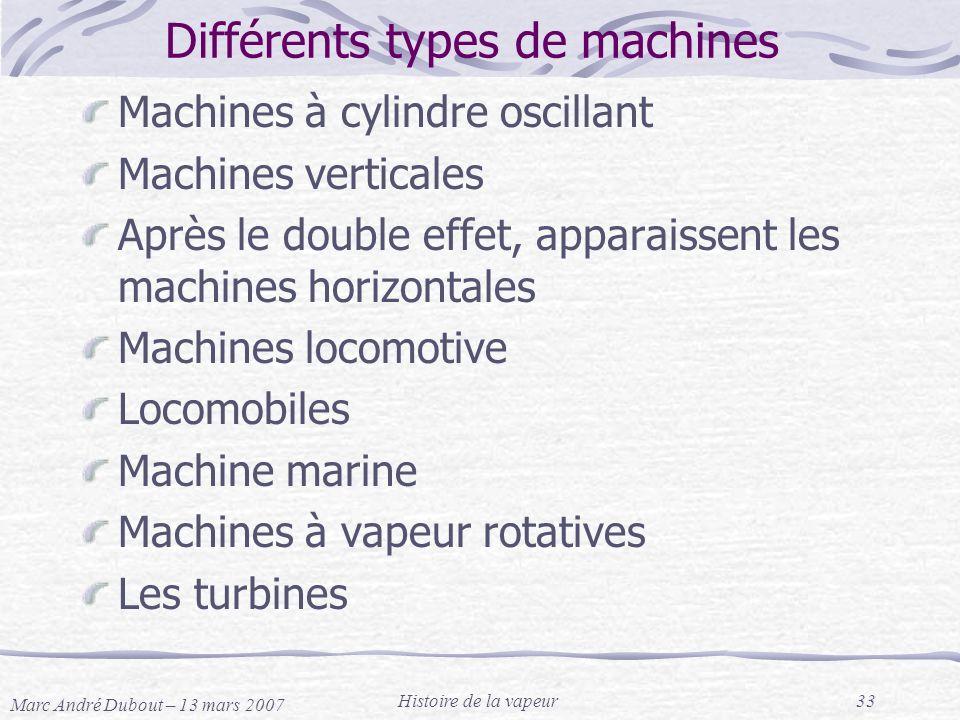 Différents types de machines
