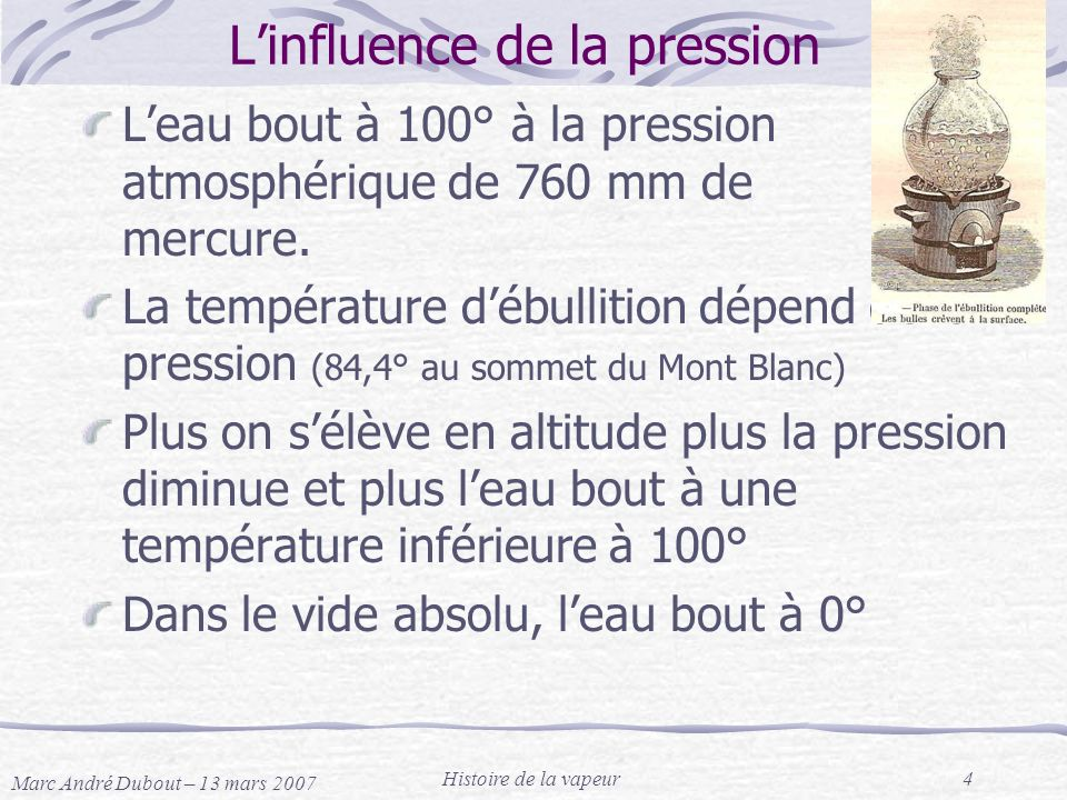 L'influence de la pression