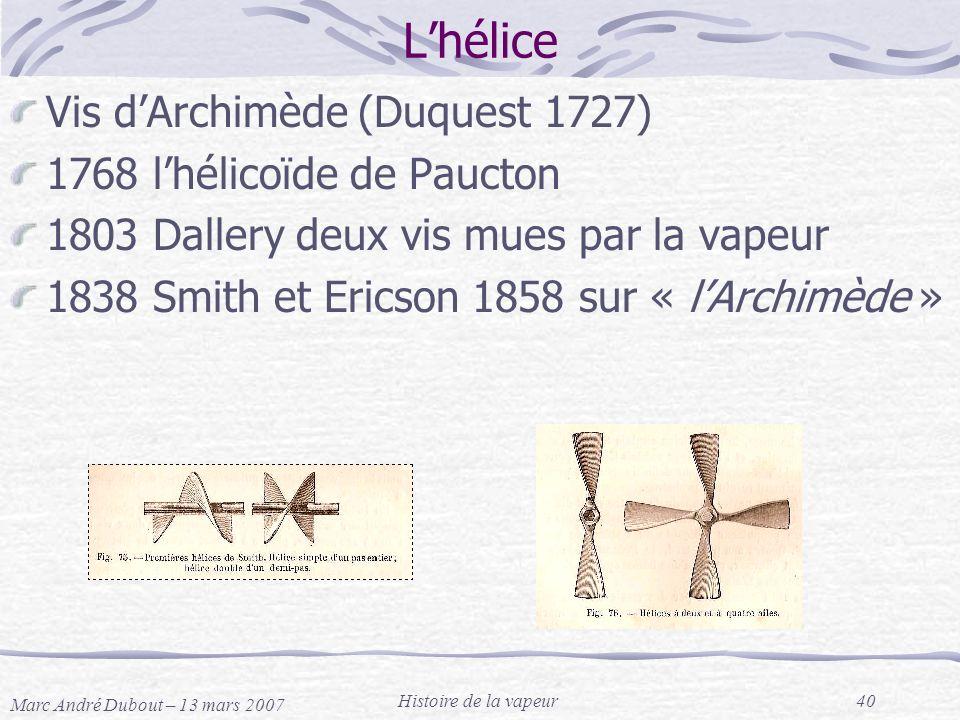 L'hélice Vis d'Archimède (Duquest 1727) 1768 l'hélicoïde de Paucton