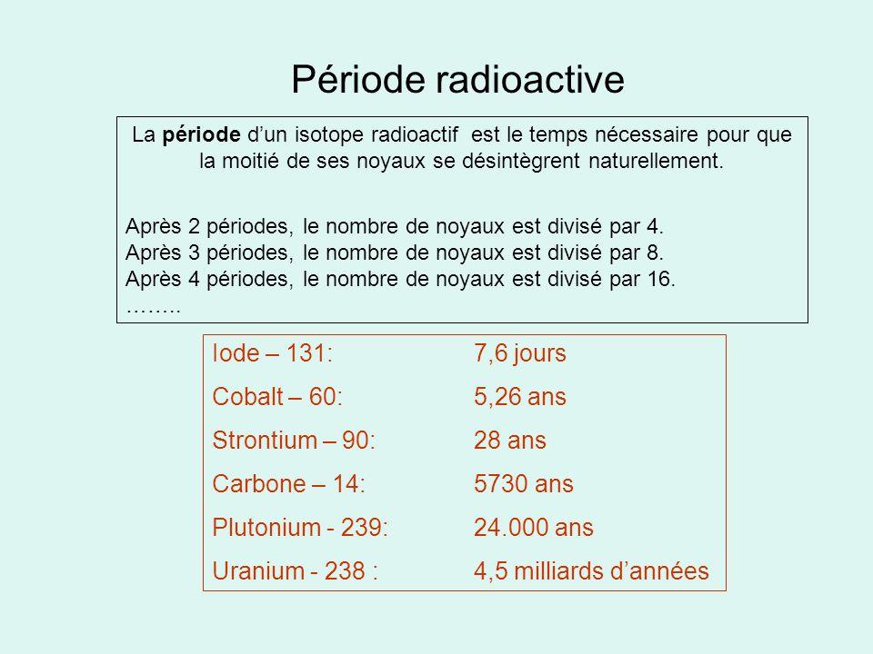 Période radioactive Iode – 131: 7,6 jours Cobalt – 60: 5,26 ans