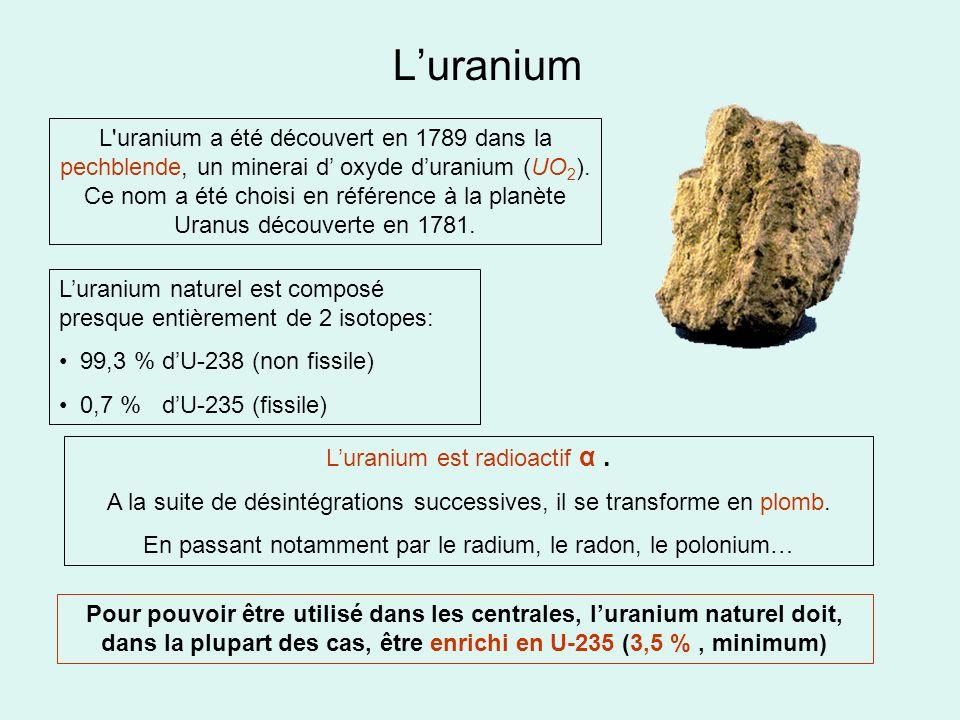 L'uranium L uranium a été découvert en 1789 dans la pechblende, un minerai d' oxyde d'uranium (UO2).