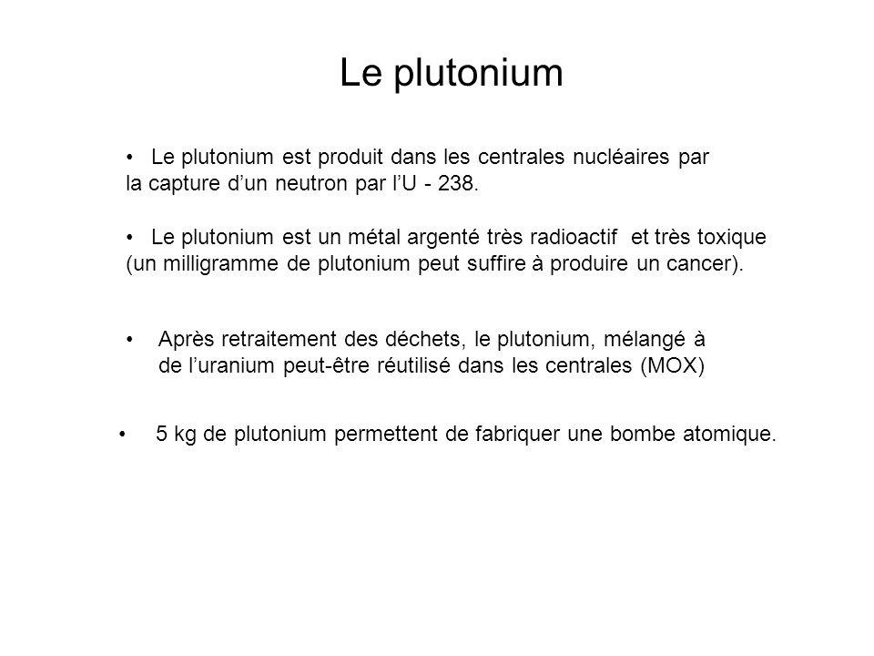 Le plutonium Le plutonium est produit dans les centrales nucléaires par la capture d'un neutron par l'U - 238.