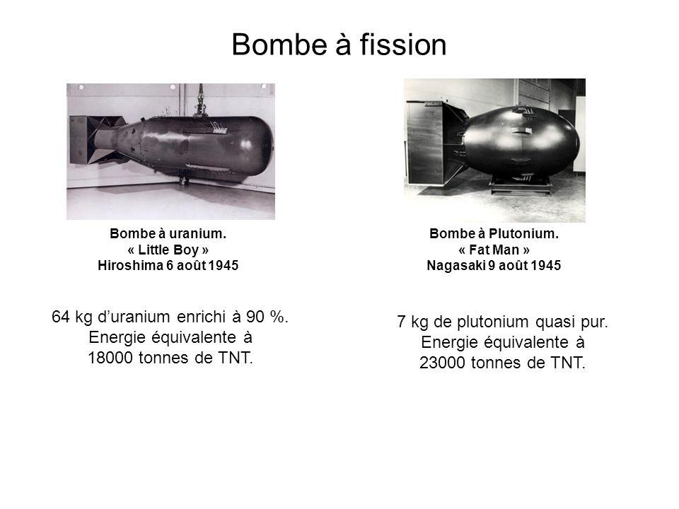 Bombe à fission Bombe à uranium. « Little Boy » Hiroshima 6 août 1945. Bombe à Plutonium. « Fat Man » Nagasaki 9 août 1945.