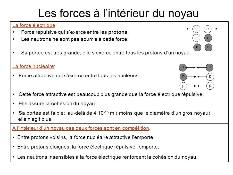 Les forces à l'intérieur du noyau