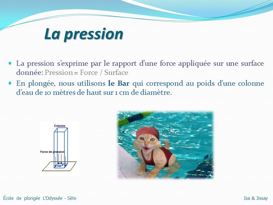 La pression La pression s'exprime par le rapport d'une force appliquée sur une surface donnée: Pression = Force / Surface.