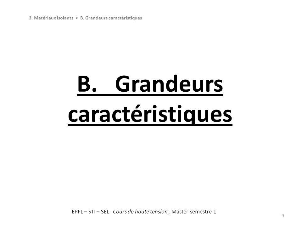 B. Grandeurs caractéristiques