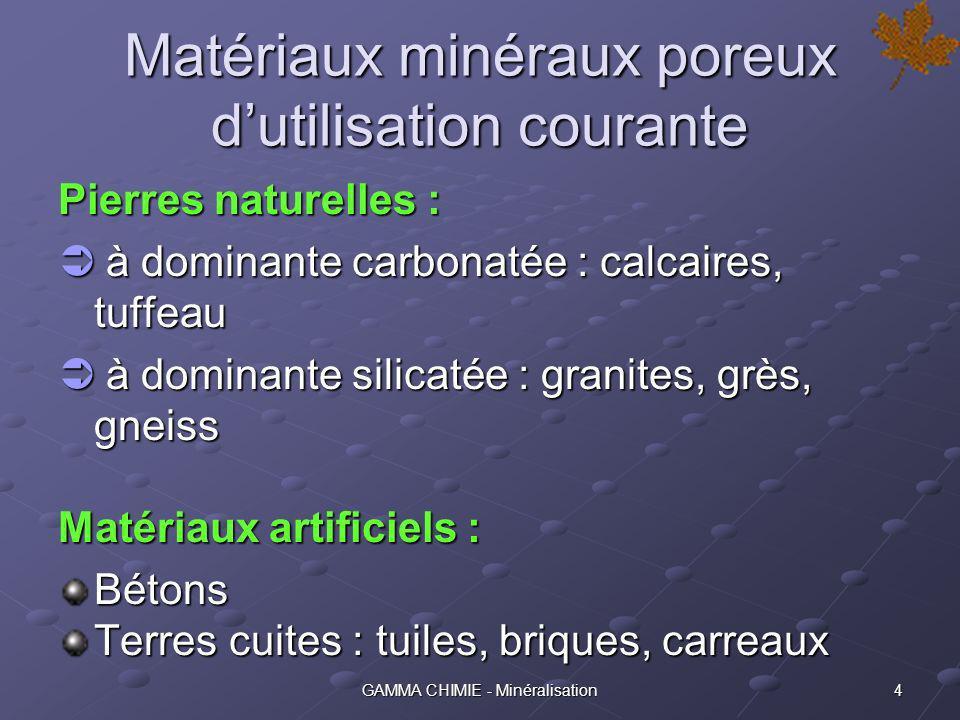 Matériaux minéraux poreux d'utilisation courante