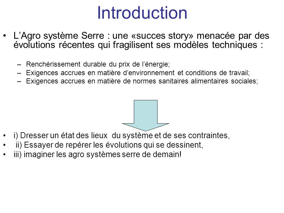 Introduction L'Agro système Serre : une «succes story» menacée par des évolutions récentes qui fragilisent ses modèles techniques :
