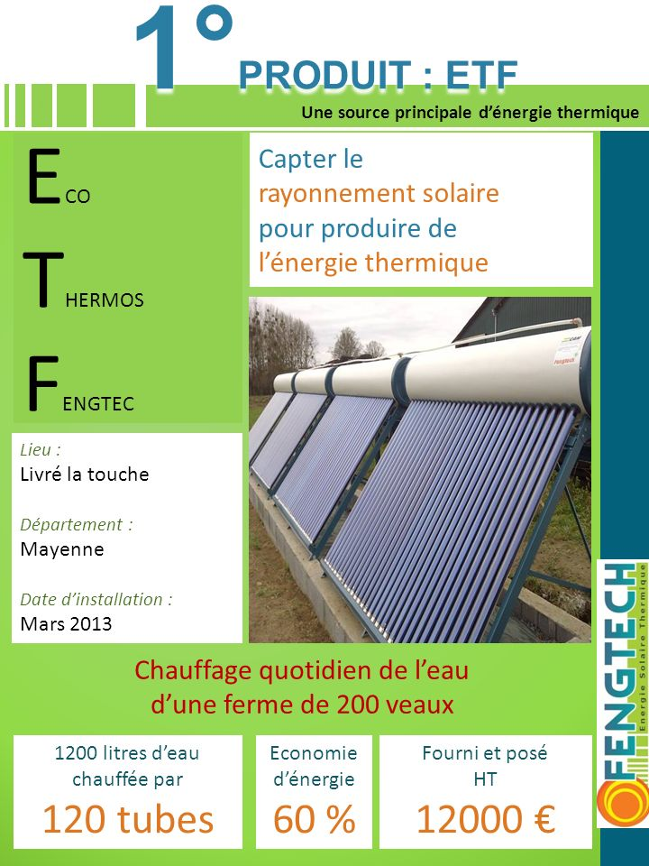 1°PRODUIT : ETF ECO THERMOS FENGTEC 120 tubes 60 % 12000 € Capter le
