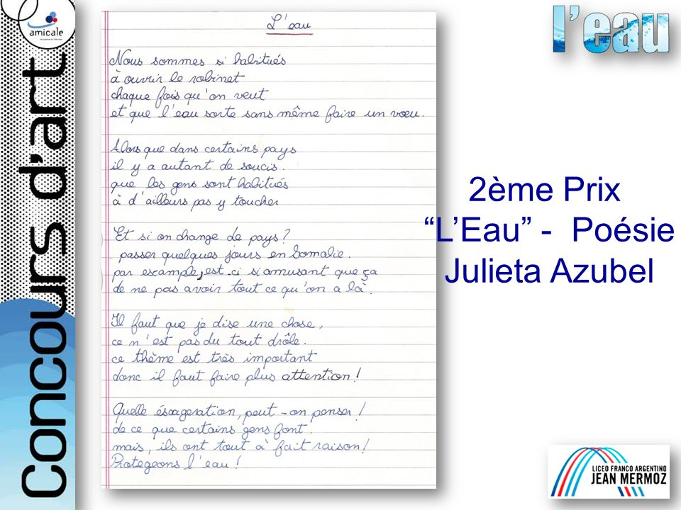 2ème Prix L'Eau - Poésie Julieta Azubel