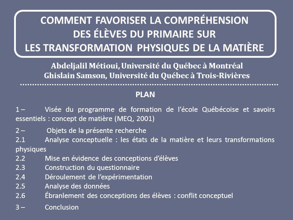 COMMENT FAVORISER LA COMPRÉHENSION DES ÉLÈVES DU PRIMAIRE SUR LES TRANSFORMATION PHYSIQUES DE LA MATIÈRE