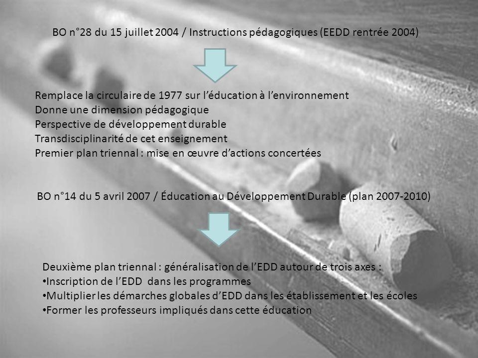 BO n°28 du 15 juillet 2004 / Instructions pédagogiques (EEDD rentrée 2004)