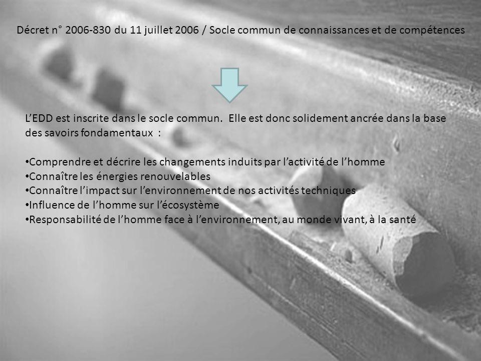 Décret n° 2006-830 du 11 juillet 2006 / Socle commun de connaissances et de compétences
