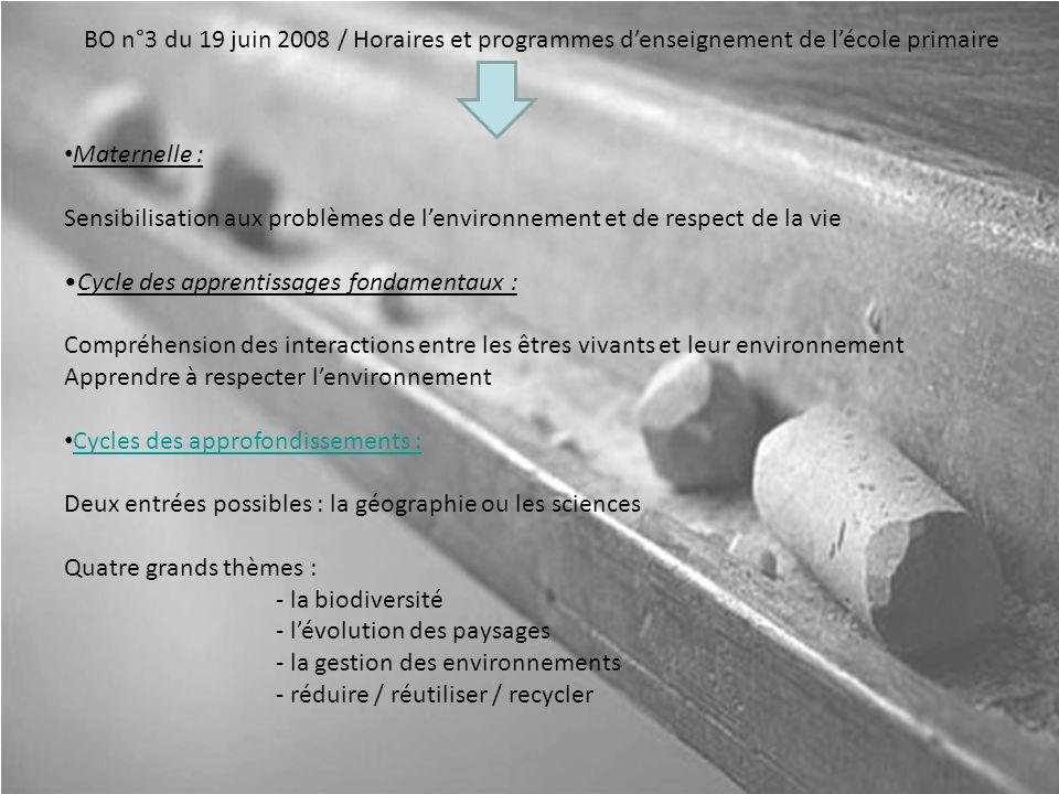 BO n°3 du 19 juin 2008 / Horaires et programmes d'enseignement de l'école primaire
