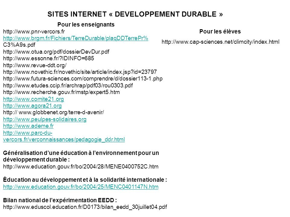 SITES INTERNET « DEVELOPPEMENT DURABLE »