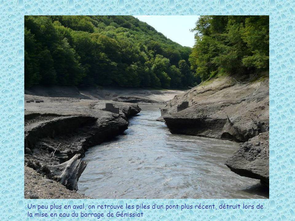 Un peu plus en aval, on retrouve les piles d'un pont plus récent, détruit lors de la mise en eau du barrage de Génissiat