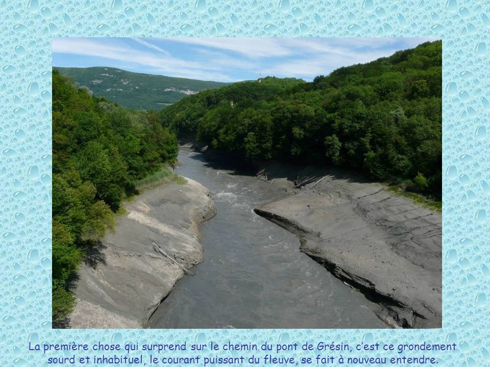 La première chose qui surprend sur le chemin du pont de Grésin, c'est ce grondement sourd et inhabituel, le courant puissant du fleuve, se fait à nouveau entendre.