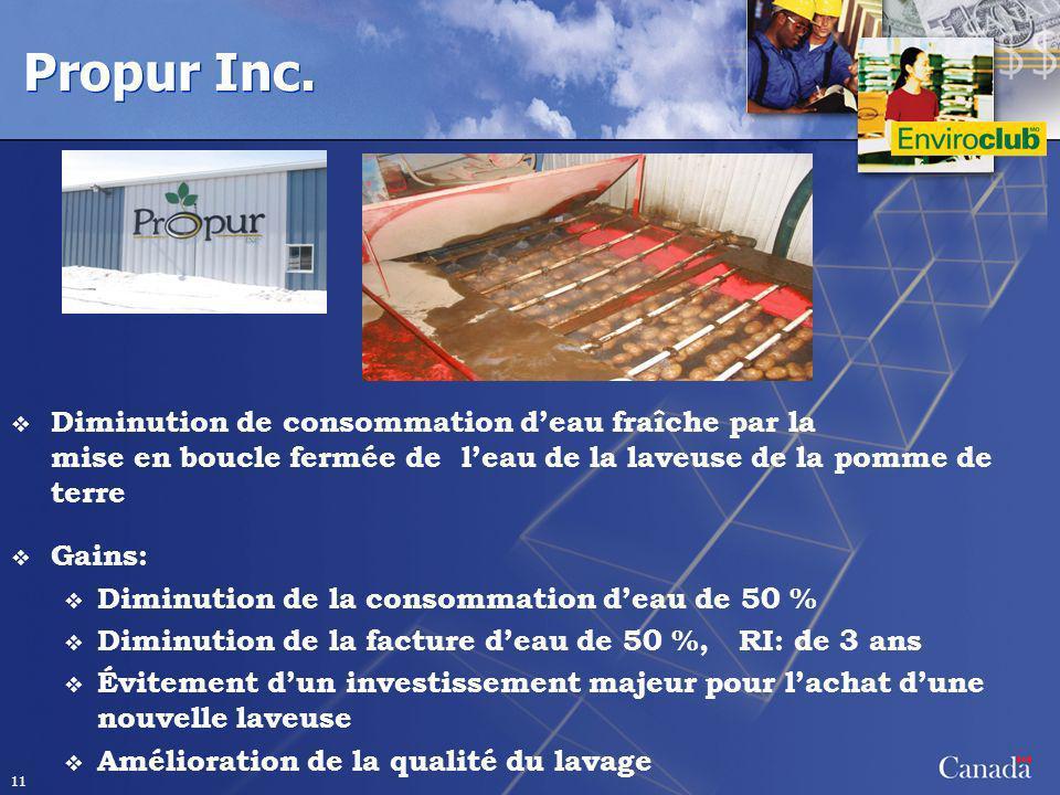 Propur Inc. Diminution de consommation d'eau fraîche par la mise en boucle fermée de l'eau de la laveuse de la pomme de terre.