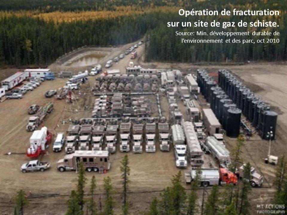 Opération de fracturation sur un site de gaz de schiste.
