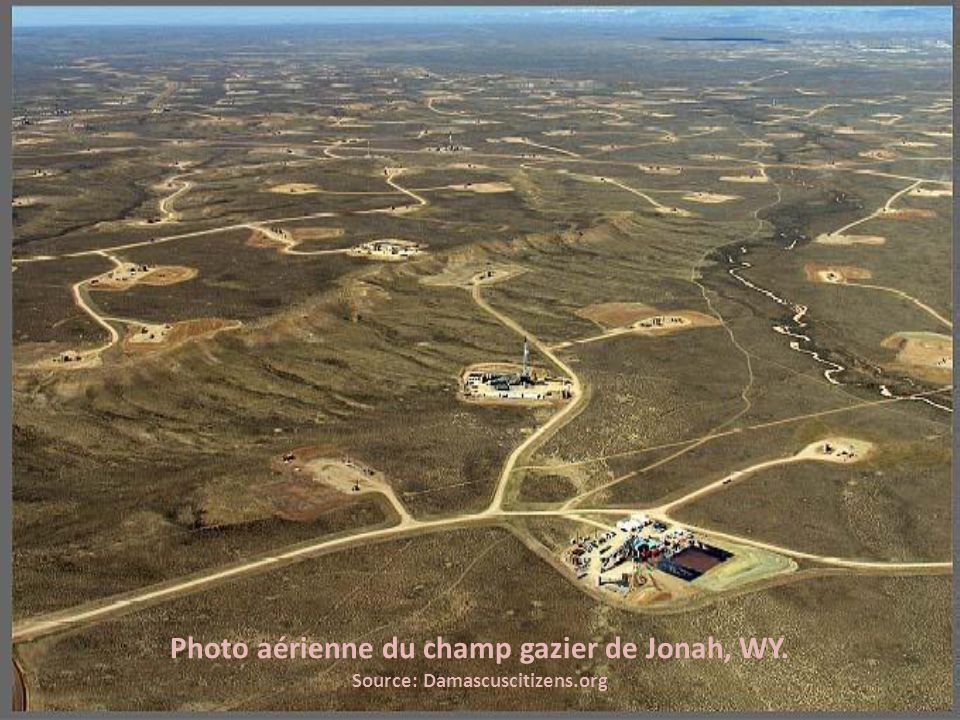 Photo aérienne du champ gazier de Jonah, WY.