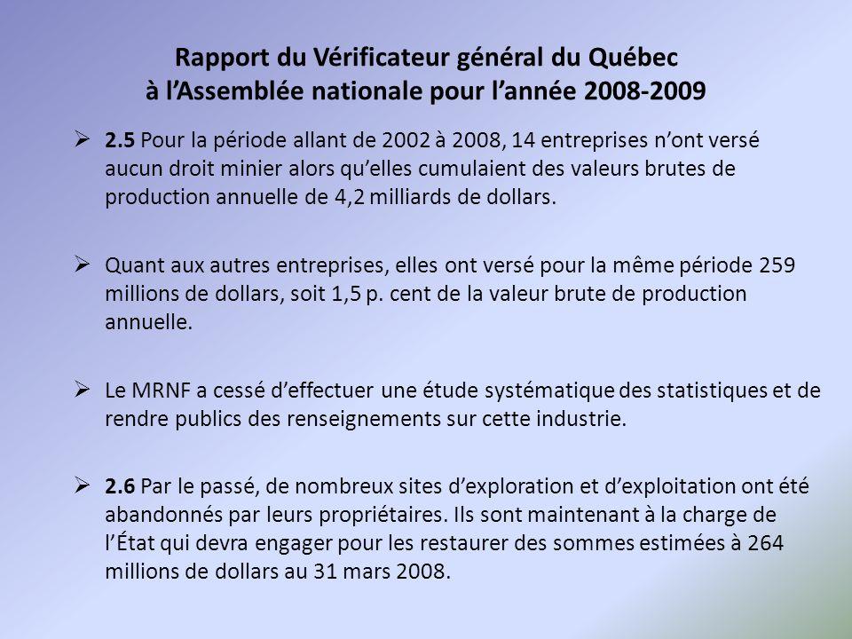Rapport du Vérificateur général du Québec à l'Assemblée nationale pour l'année 2008-2009