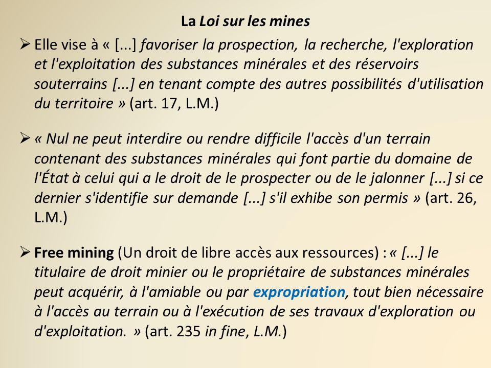 La Loi sur les mines