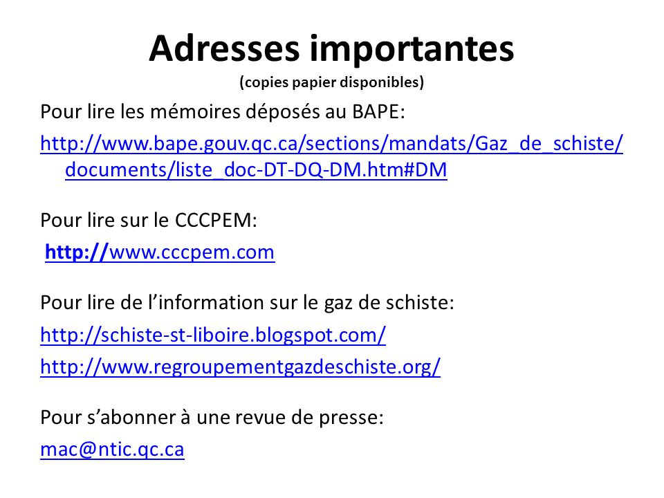 Adresses importantes (copies papier disponibles)