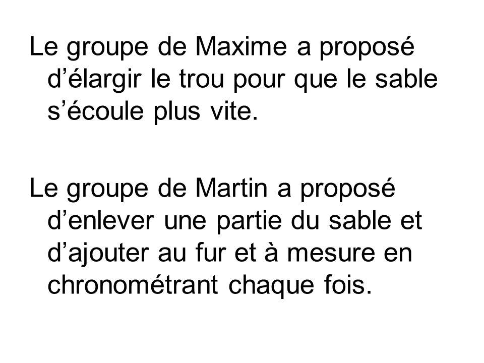 Le groupe de Maxime a proposé d'élargir le trou pour que le sable s'écoule plus vite.