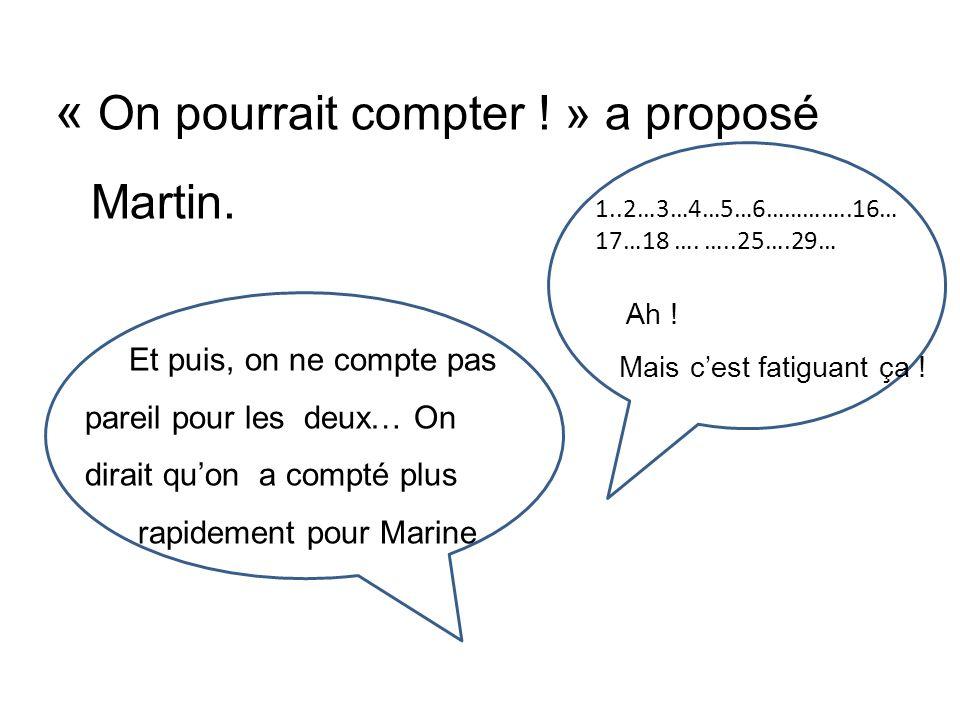 « On pourrait compter ! » a proposé Martin.