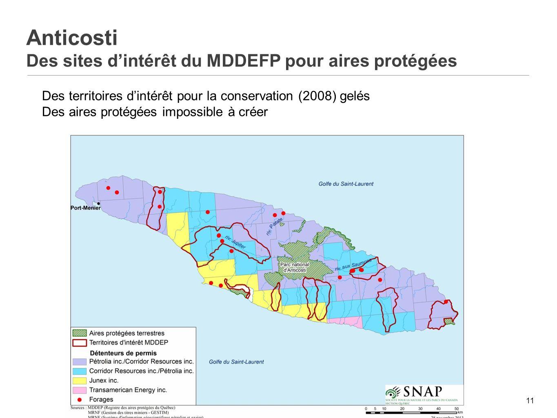 Anticosti Des sites d'intérêt du MDDEFP pour aires protégées