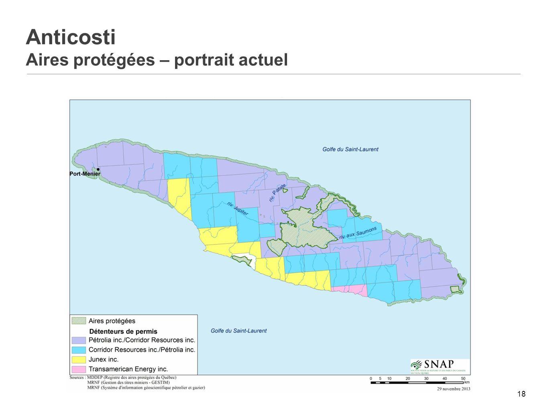 Anticosti Aires protégées – portrait actuel