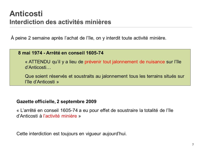 Anticosti Interdiction des activités minières