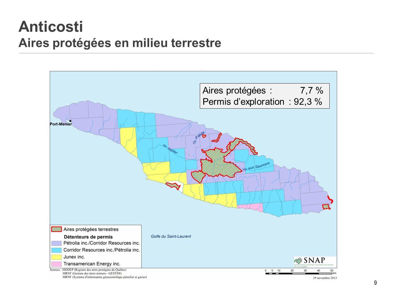 Anticosti Aires protégées en milieu terrestre