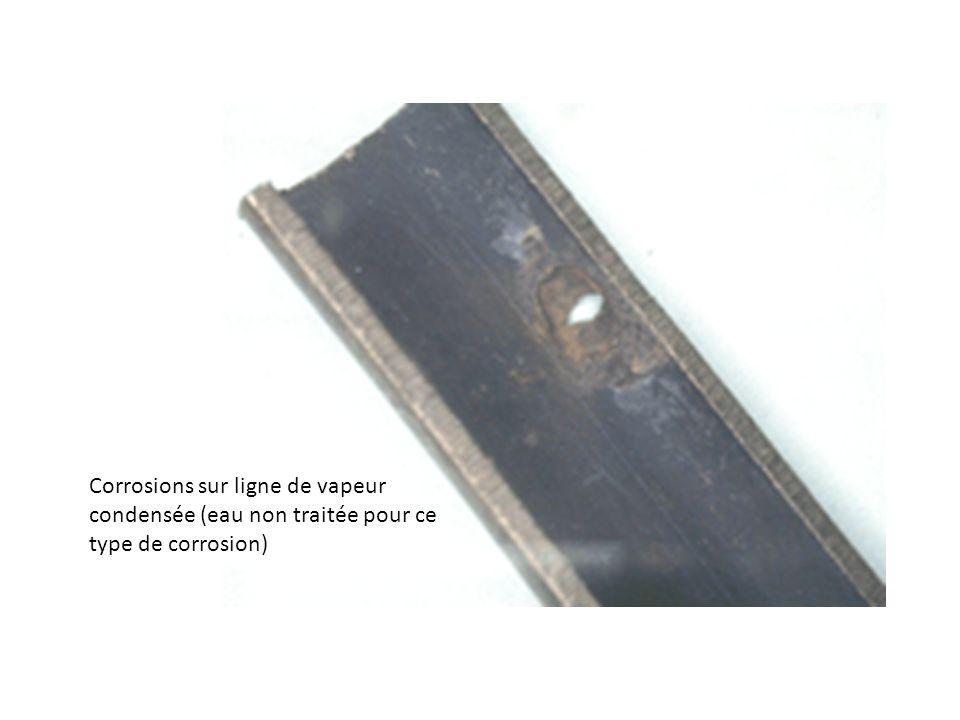 Corrosions sur ligne de vapeur condensée (eau non traitée pour ce type de corrosion)