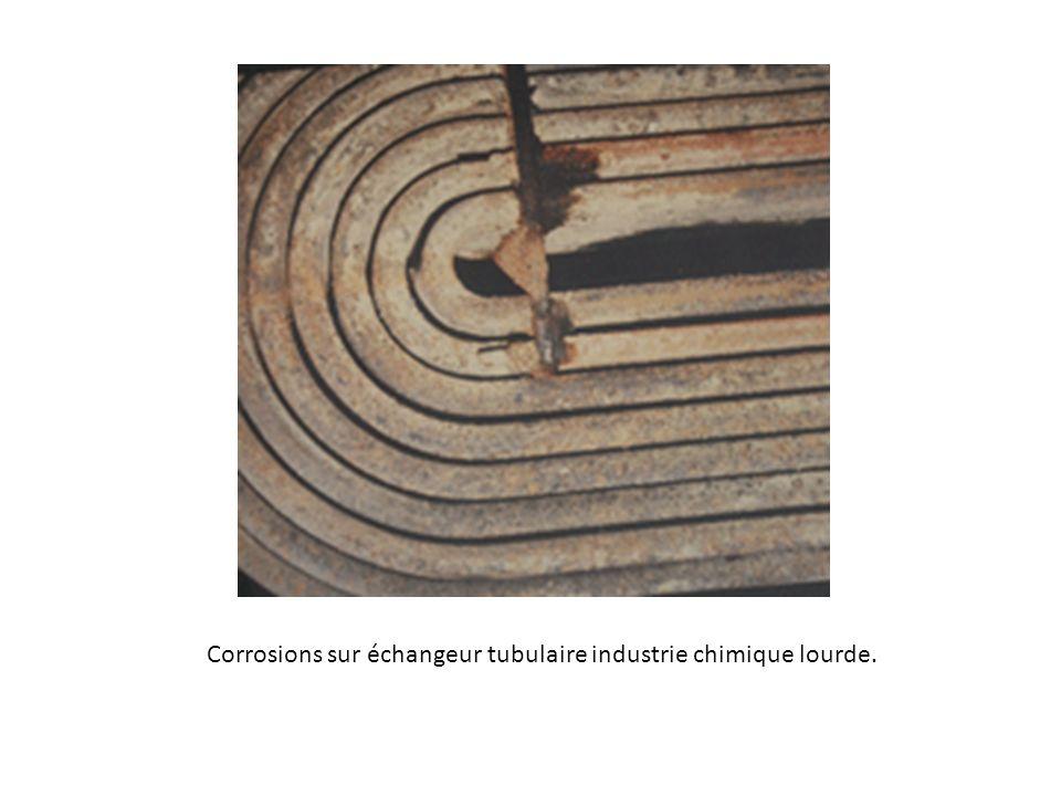 Corrosions sur échangeur tubulaire industrie chimique lourde.