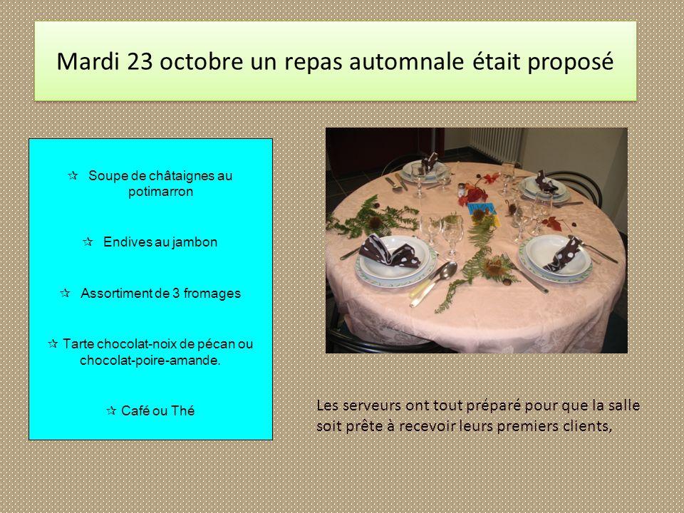 Mardi 23 octobre un repas automnale était proposé
