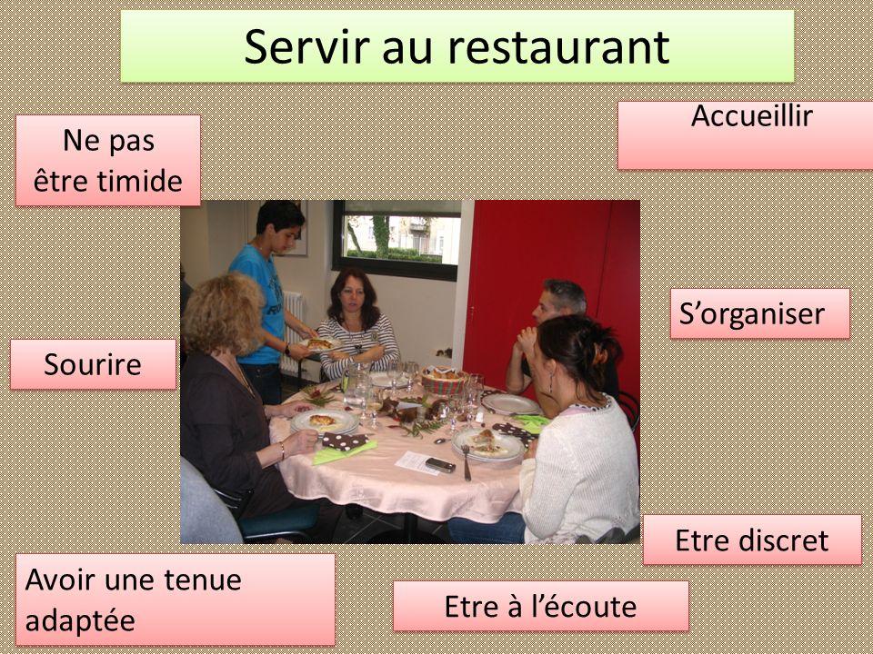 Servir au restaurant Accueillir Ne pas être timide S'organiser Sourire