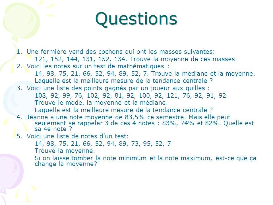 Questions 1. Une fermière vend des cochons qui ont les masses suivantes: 121, 152, 144, 131, 152, 134. Trouve la moyenne de ces masses.