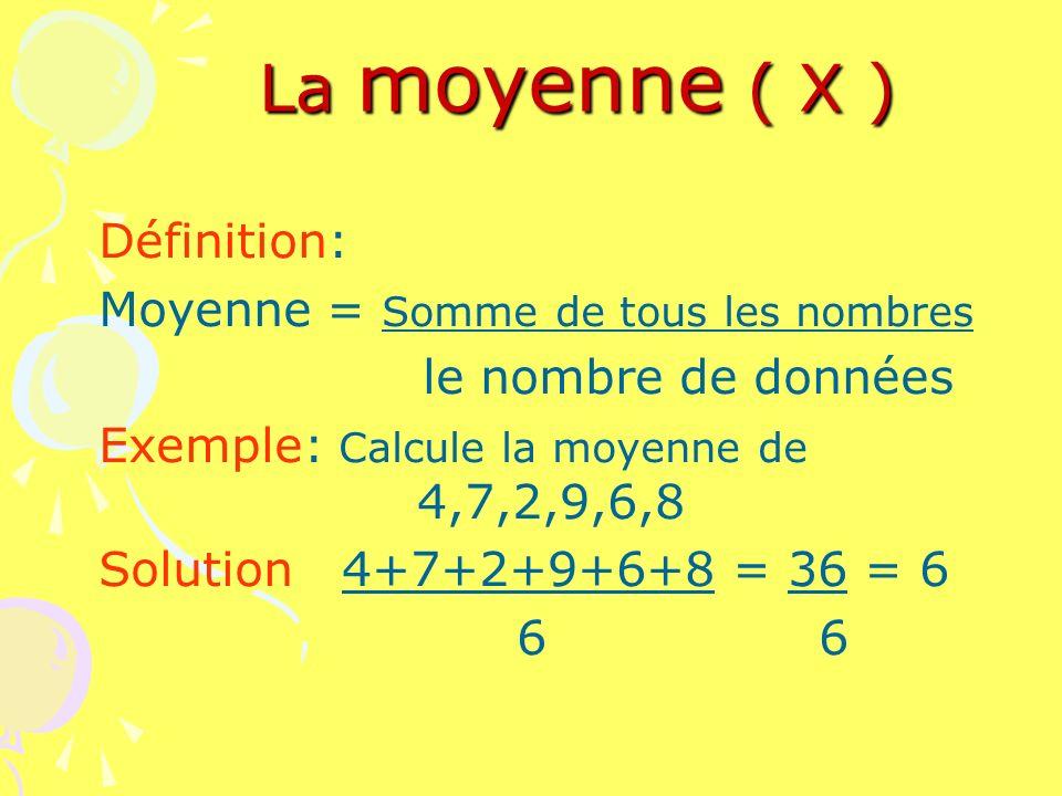 La moyenne ( X ) Définition: Moyenne = Somme de tous les nombres