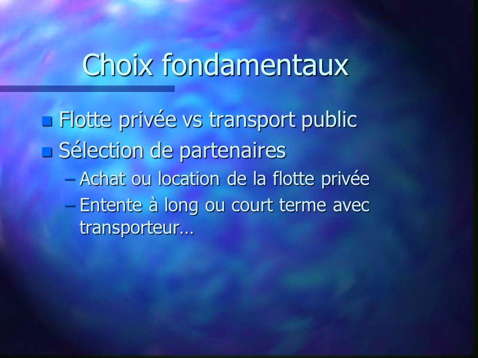 Choix fondamentaux Flotte privée vs transport public