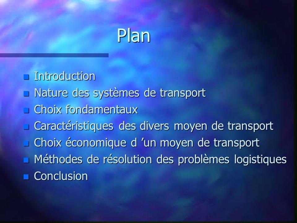 Plan Introduction Nature des systèmes de transport Choix fondamentaux