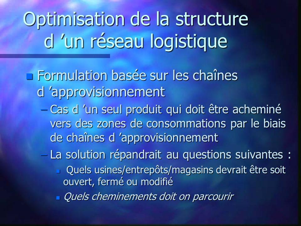 Optimisation de la structure d 'un réseau logistique