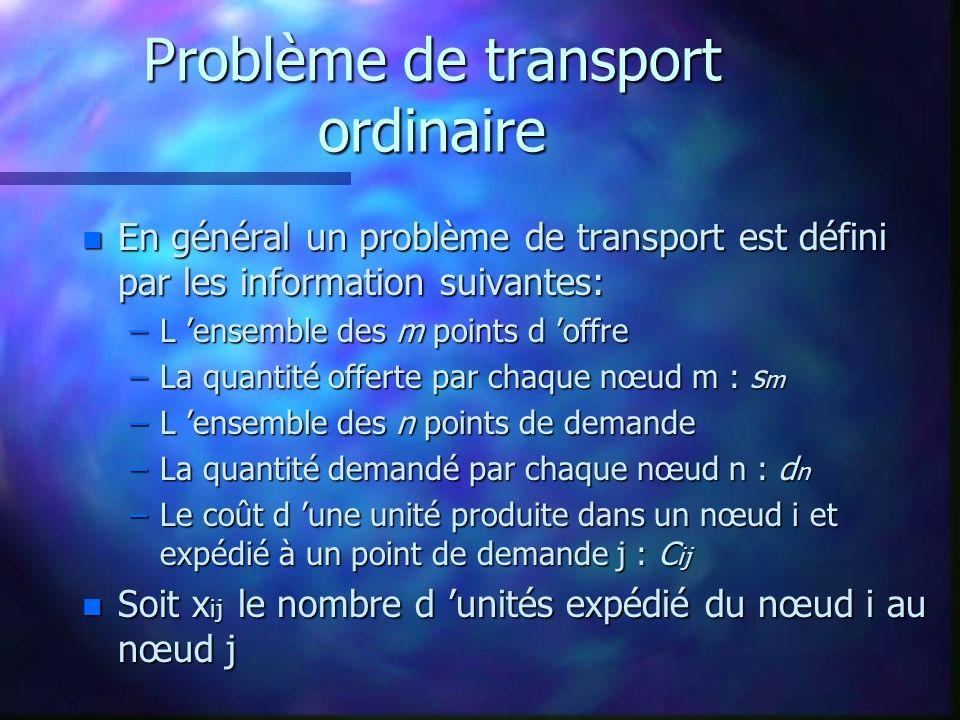 Problème de transport ordinaire