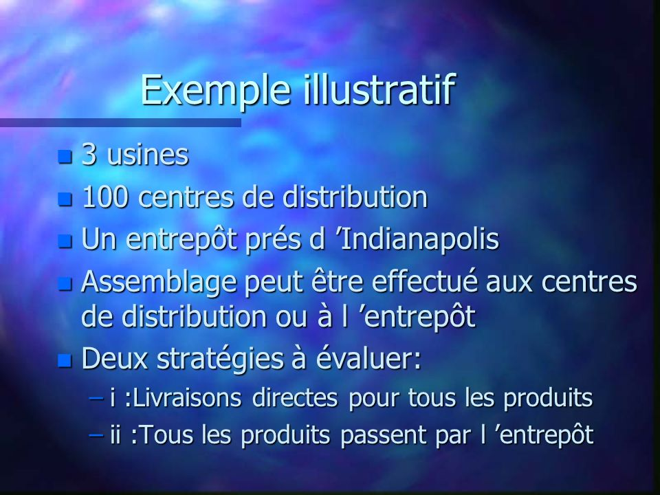 Exemple illustratif 3 usines 100 centres de distribution