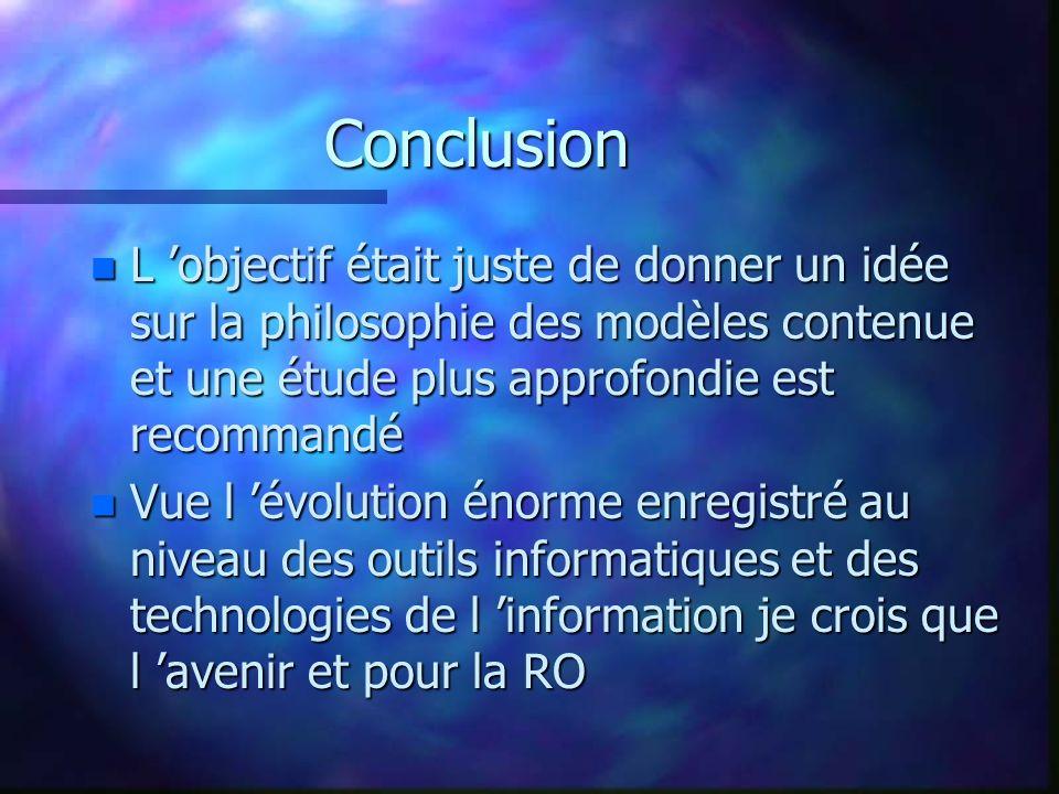 Conclusion L 'objectif était juste de donner un idée sur la philosophie des modèles contenue et une étude plus approfondie est recommandé.