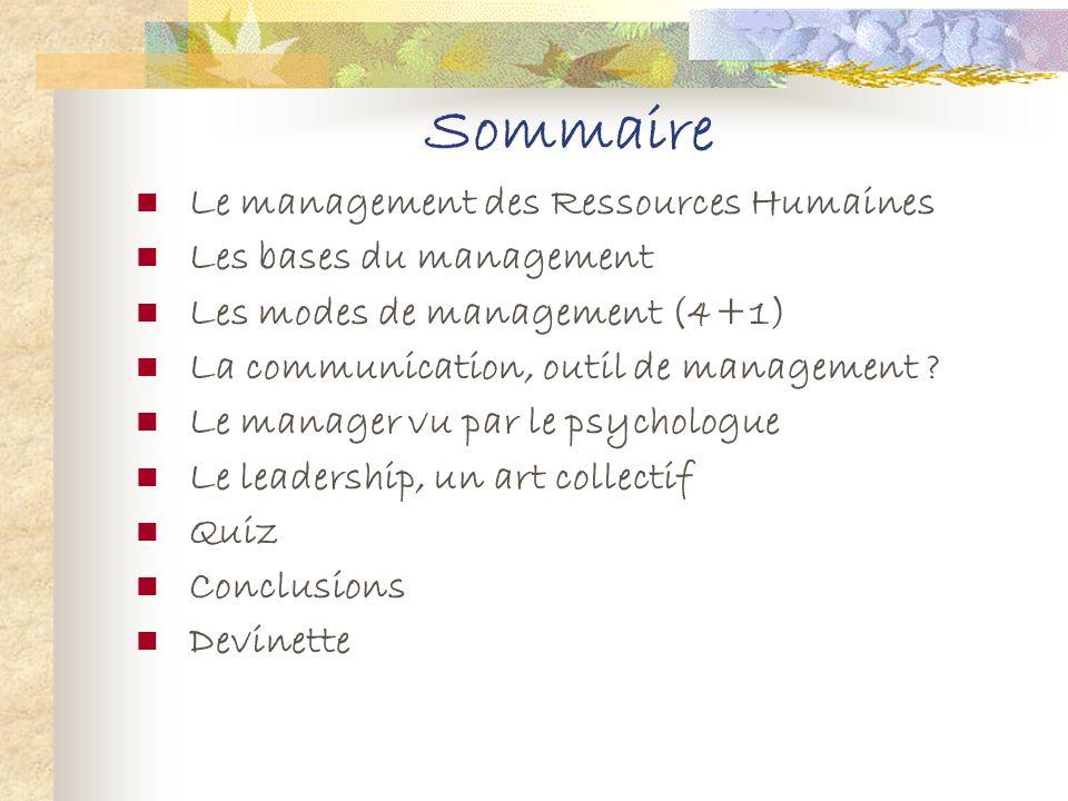 Sommaire Le management des Ressources Humaines Les bases du management